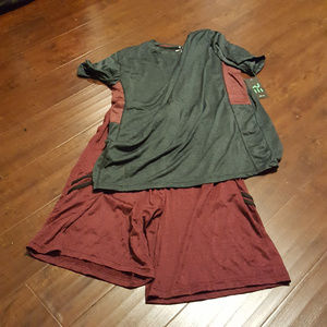 Dry-Fit Active Shorts w/ Dry-Fit Tee Burg/Char XL
